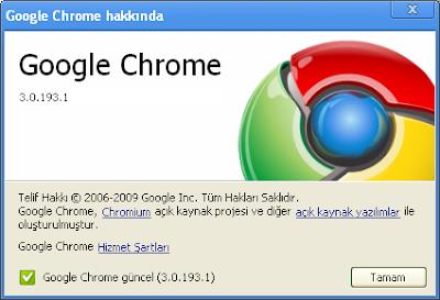 Google Chrome Güncelleme - Sürüm 3.0.193.1