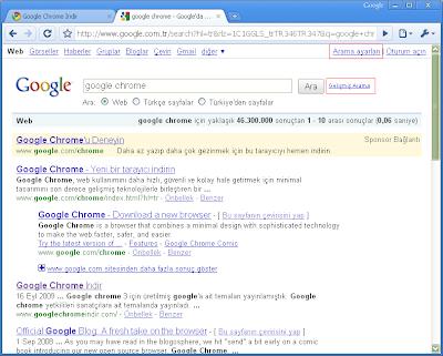 Google Gelişmiş Arama ve Arama Ayarları Linkleri