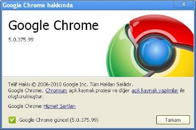 Google Chrome Güncelleme Yapin