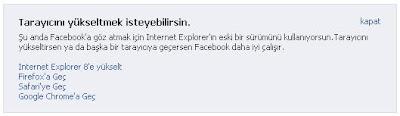 Facebook Eski Tarayıcı Uyarısı