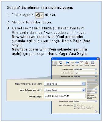 Safari tarayıcı için google ana sayfa yapma ayarları