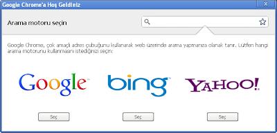 Google Chrome Arama Motoru Seçin
