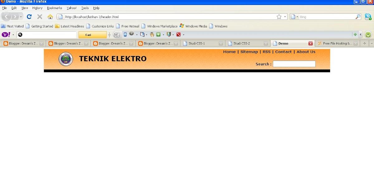 Belajar membuat header web dengan css dream 39 s zone - Div id header ...