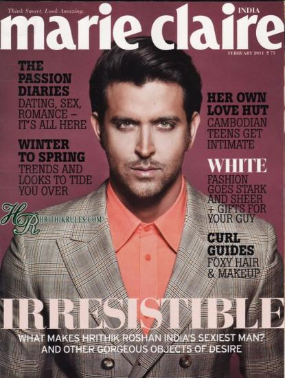  - Hrithik Roshan On Marie Claire Magazine Cover India February 2011 Issue