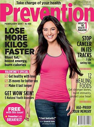 - Sonakshi Sinha On Prevention Magazine Cover February 2011