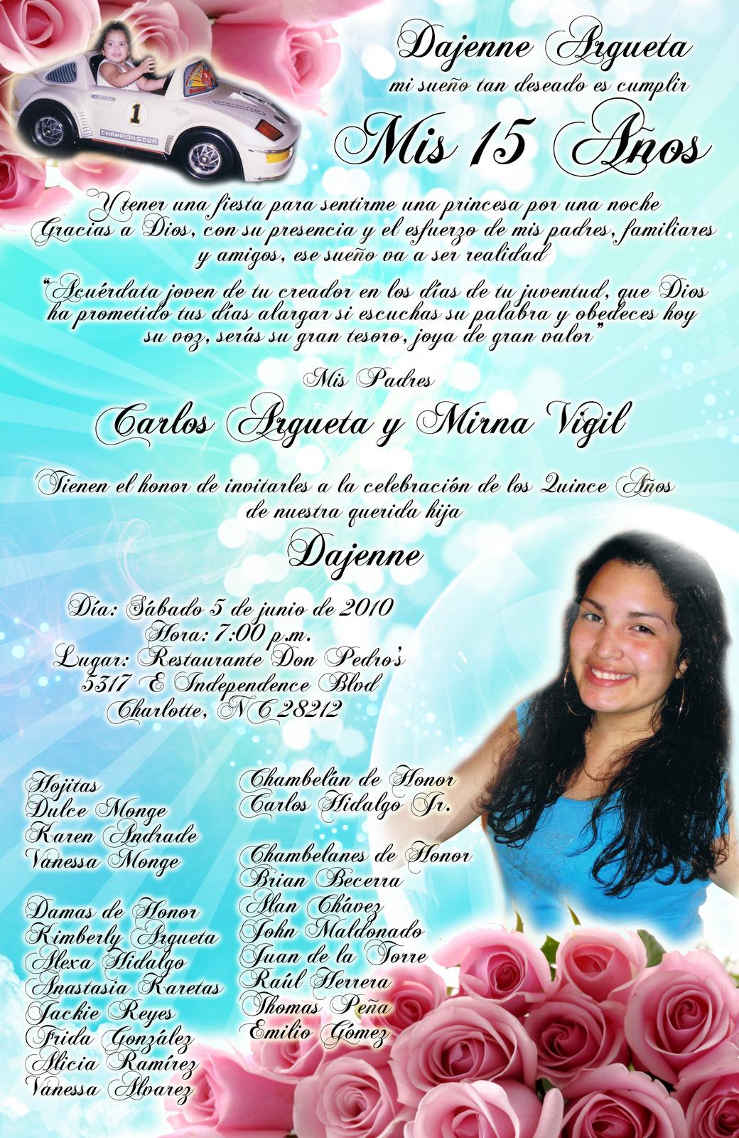 Formato para invitaciones de 15 años - Imagui