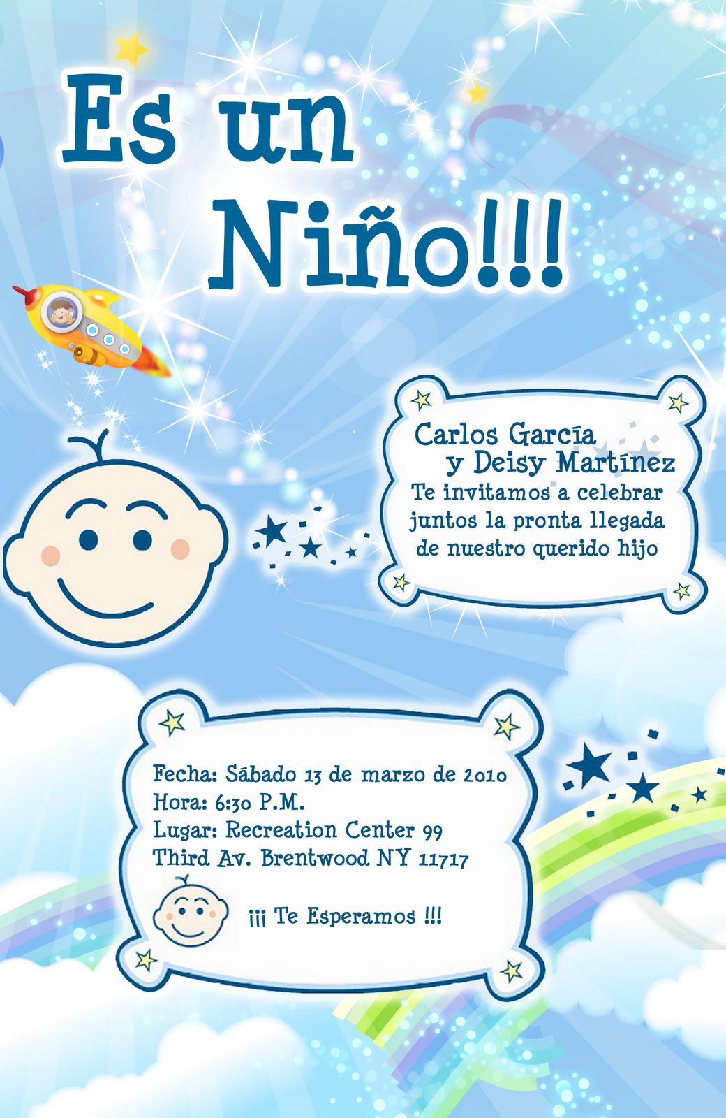Invitación Baby Shower En Color Celeste Espacial Artes Davinci