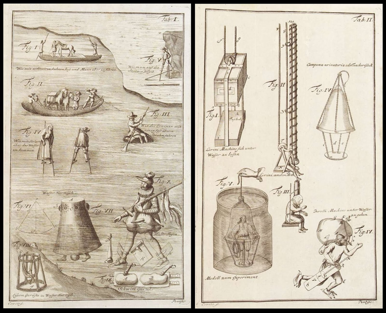 illustration plates of scuba and flotation devices