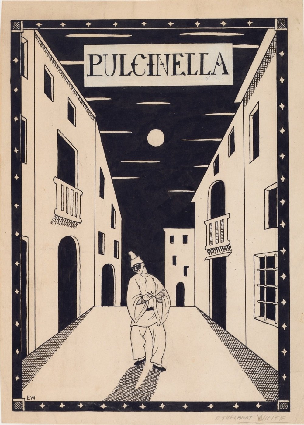 Pulcinella : scene drawing
