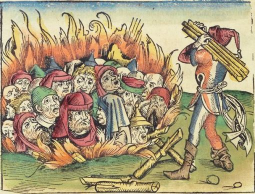 woodcut illustration of Jews burnt during the bubonic plague