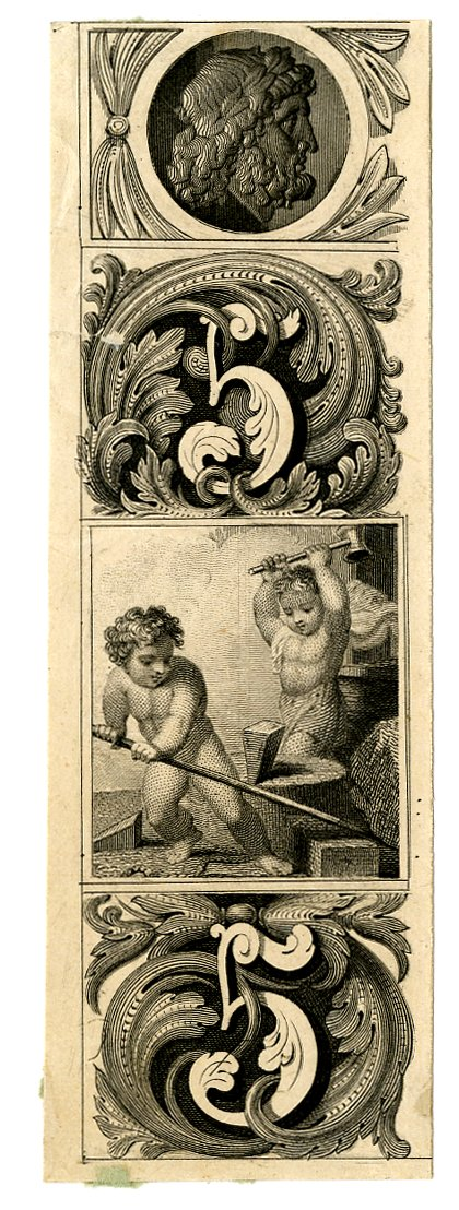 Two young boys as blacksmiths at centre. Decorative patterns with number 5 at upper and lower centre. Male profile portrait at top centre. Design printed in black. (19th c)