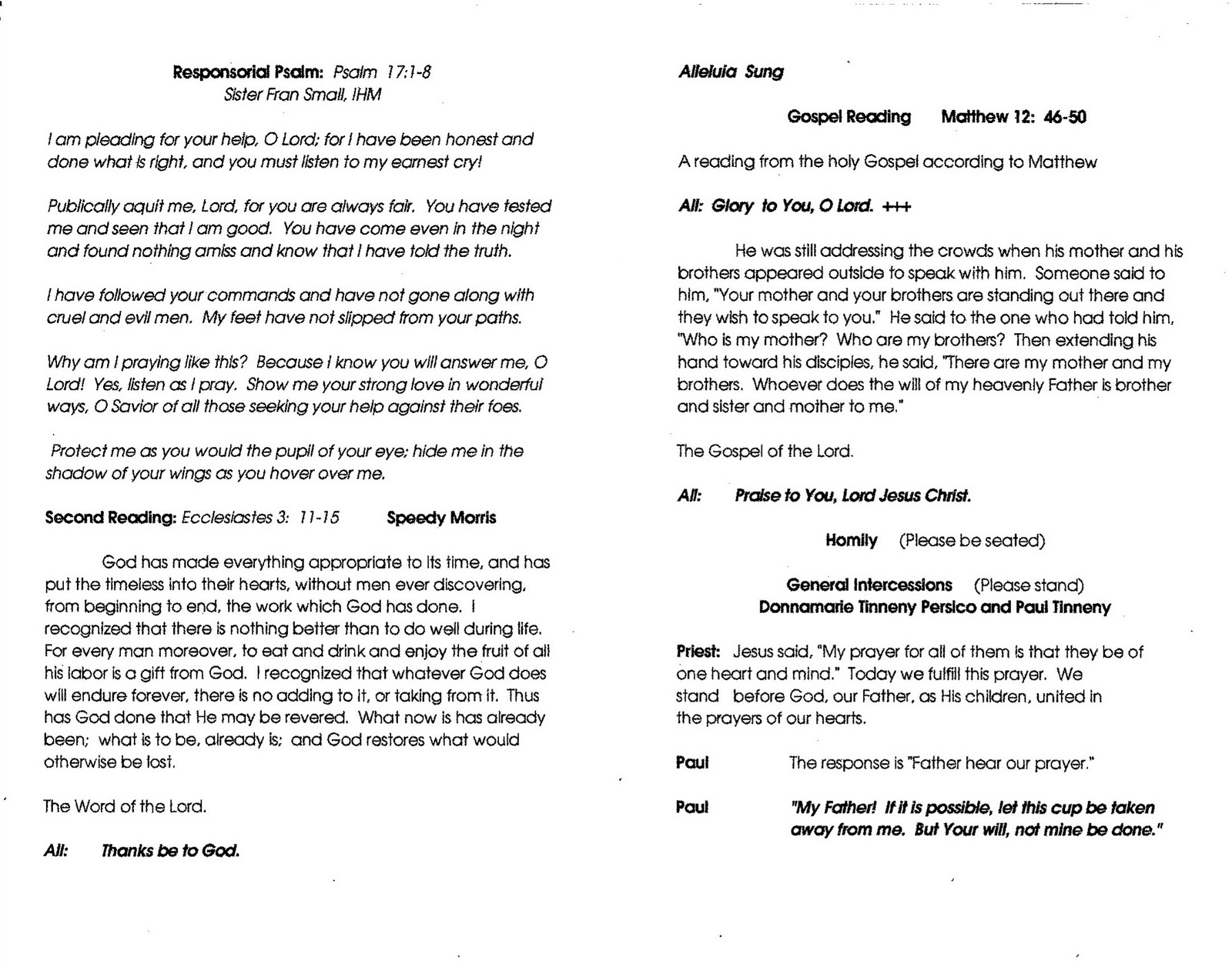 Gary Tinneny Garys Funeral Mass Booklet Click On Individual Page