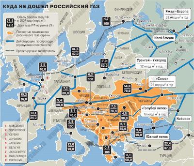 Карта газопроводов России в