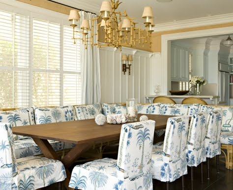 upholstered dining room chairs with coastal fabric