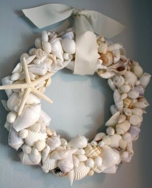 handmade seashell wreath