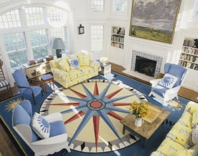 Home Decorating on In This Living Room A Large Nautical Compass Rug Sets The Stage  Sofas