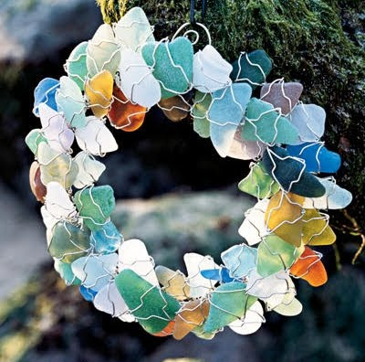 making a sea glass wreath
