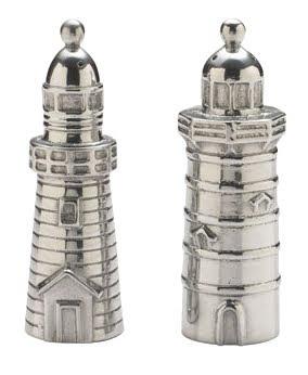 silver lighthouse salt and pepper shaker