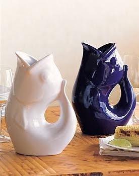 blue and white gurgle pot