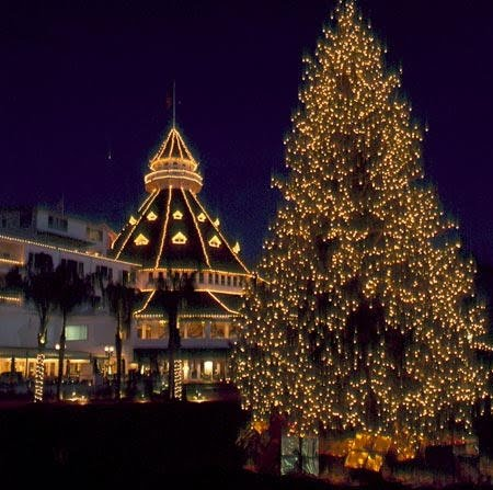 hotel Del Coronado decked out with Christmas lights at night