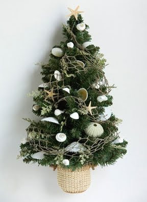 Christmas tree in basket as wall hanging