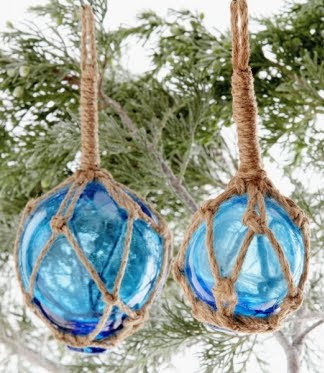 glass float Christmas tree ornaments blue