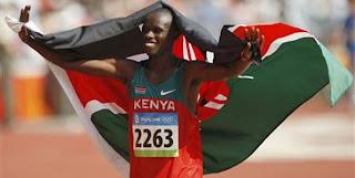 Wanjiru celebrates