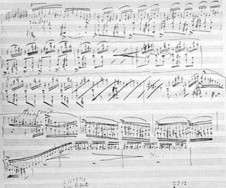 Liszts Manuskript einer Seite aus seiner Klaviersonate
