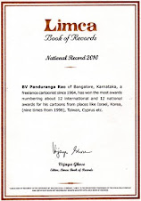 Achievements in the field of cartooning has been entered in Limca Book of Records 2010