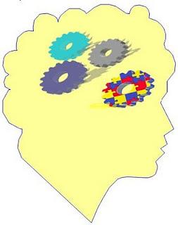 Silueta de cabeza humana, tres ruedas dentadas en su interior formando un tren de engranaje, otra apartada tiene como textura el puzzle de colores que simboliza el autismo