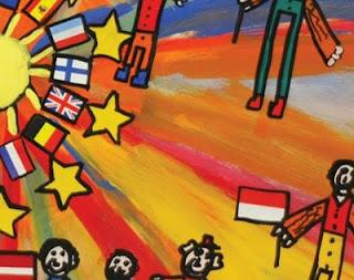 Captura de la portada del documento citado que corresponde a un dibujo de una alumna belga de 20 años con NEE