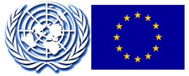 Símbolo de la ONU (a la izquierda) y la bandera de la Unión Europea (a la derecha)