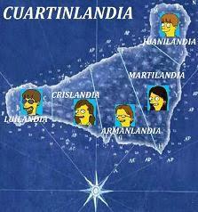 Mapa y regiones : Juanilandia,Martilandia Armanlandia,Crislandia y Luilandia.