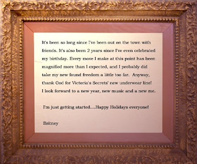 Britney Spears message about panties