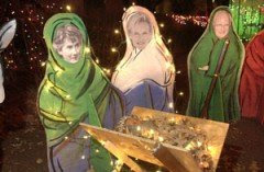 Photo of Mary Cheney, Heather Poe, and Dick Cheney in a nativity scene in Texas
