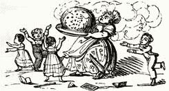 presenting the Christmas plum pudding antique black and white cartoon