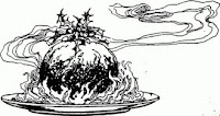 Christmas pudding antique black and white drawing