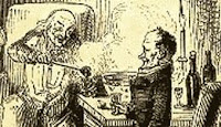 Scrooge discussing affairs with Bob Cratchit over a bowl of smoking bishop wood engraving by John Leech