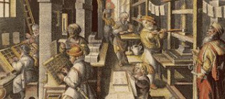 an early book-printing shop circa 1590 color illustration