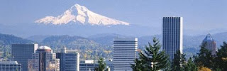 Portland, Oregon skyline with Mount Hood in the background color photograph