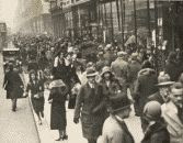 black and white photograph of London shoppers circa 1930