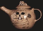 color photograph of a Malice Domestic Agatha Award teapot