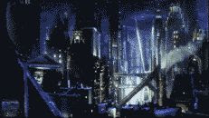 CGI color still of Gotham City at night from the film 'Batman Returns'