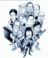 The Rock Bottom Remainders band characature black and white drawing