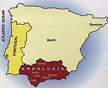 a map of the region of Andalusia showing its location in Spain