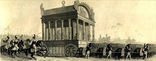 A black and white drawing of an artist's reconstruction of Alexander's funeral procession.