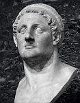 A black and white photo of a bust of Ptolemy I founder of the Ptolemaic dynasty ca 3rd century BCE.
