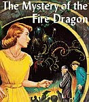 A color photo of an illustration for the Nancy Drew mystery 'The Mystery of the Fire Dragon'.