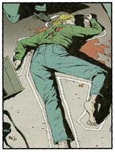 A color photo of a sample panel from 'Scene of the Crime' written by Ed Brubaker, art by Michael Lark.