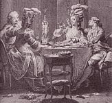 color photo of a monochrome engraving print of Regency era dining